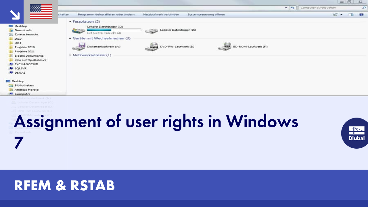 Dlubal RFEM & RSTAB - Assignment of User Rights in Windows 7
