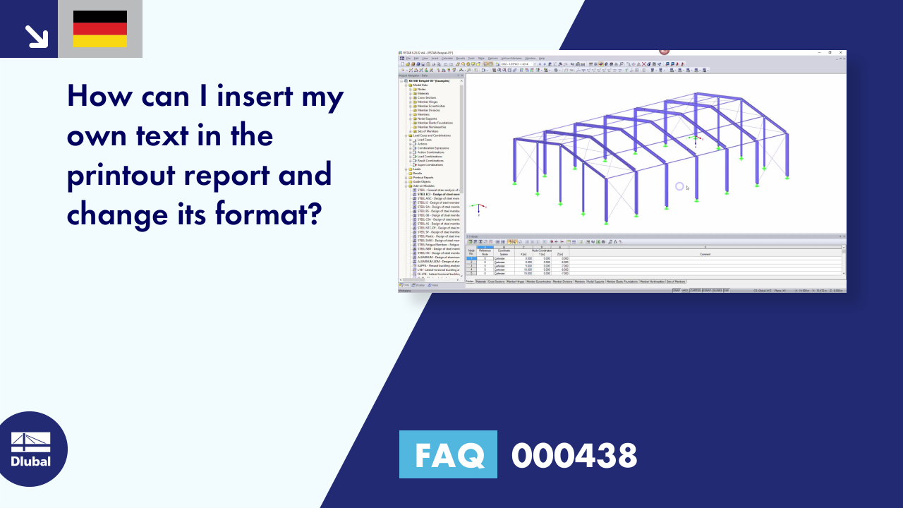 [DE] FAQ 000438 | How can I insert my own text in the printout report and change its format?