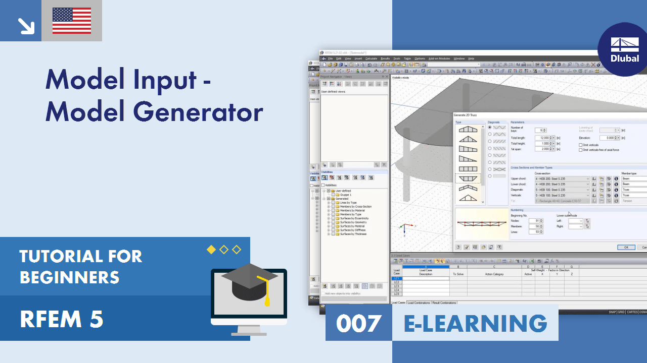 RFEM 5 Tutorial for Beginners | 007 Model Input - Model Generator