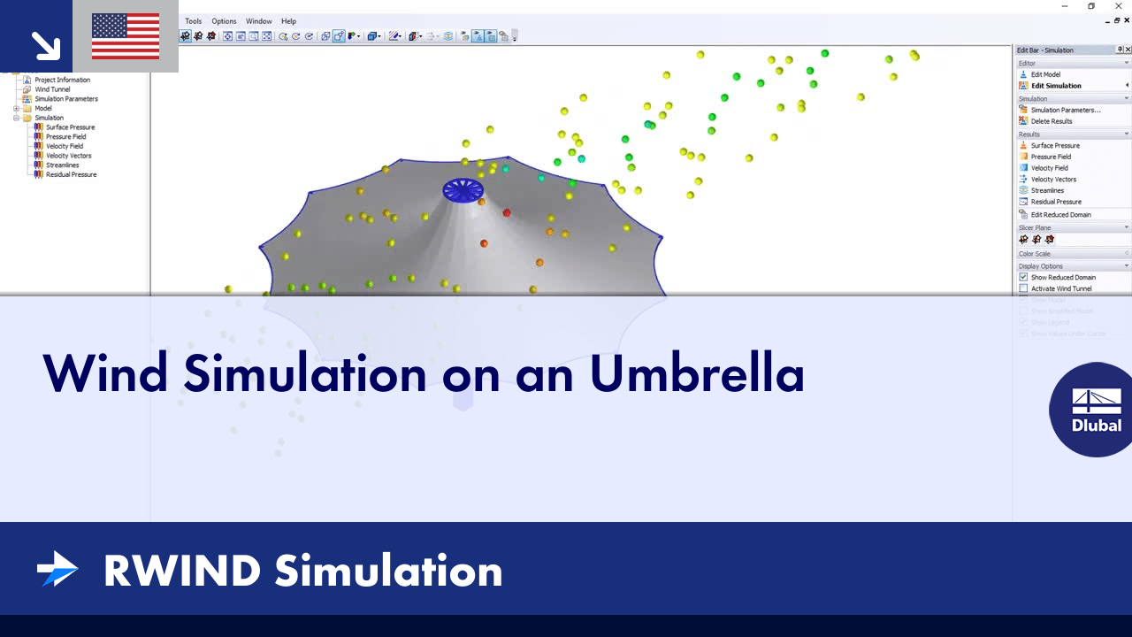 RWIND Simulation | Wind Simulation on an Umbrella