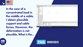 [EN] FAQ 000202 | In the case of a concentrated load in the middle of a cable, I obtain plausible support and cable forces. However, the deformation is not plausible. What is the reason for this?