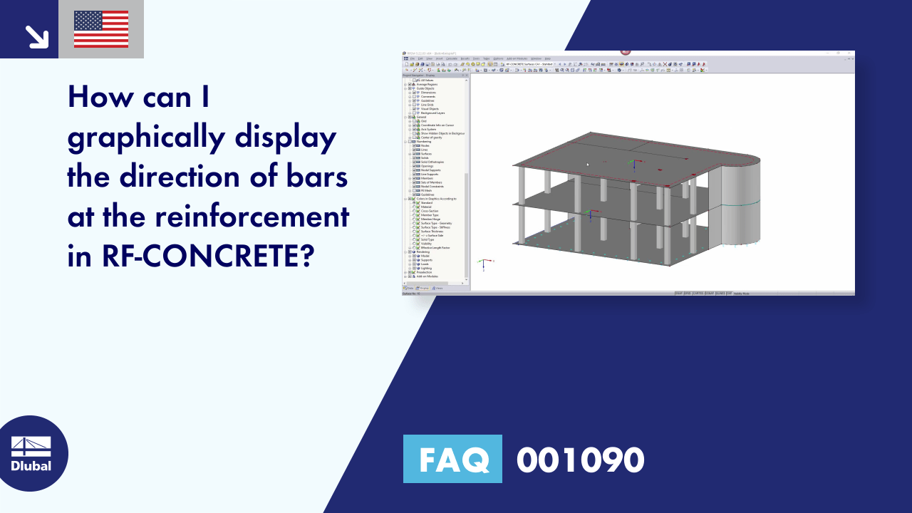 FAQ 001090 | How can I graphically display the direction of bars at the reinforcement in RF-CONCRETE?
