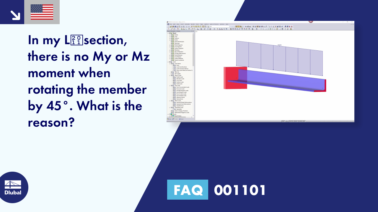 FAQ 001101 | <p>In my L‑section, there is no M<sub>y</sub> or M<sub>z</sub> moment when rotating the member by 45°. What is the reason?</p>