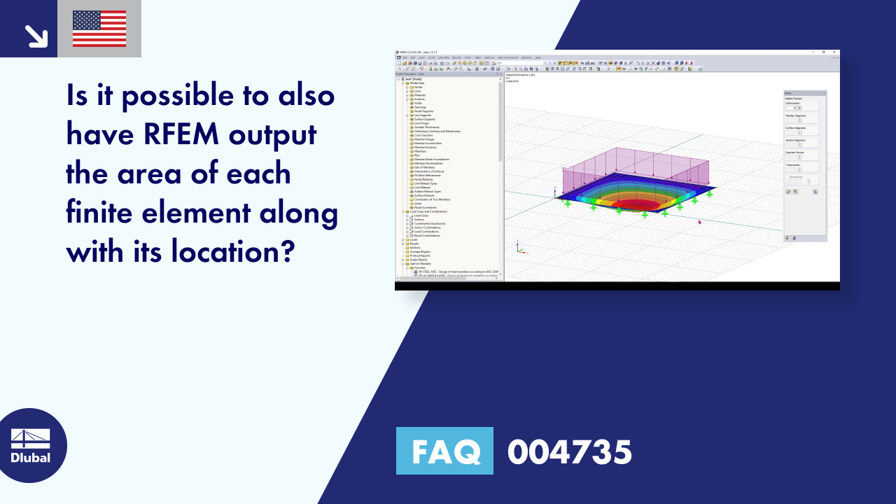 FAQ 004735 | Is it possible to also have RFEM output the area of each finite element along with its location?
