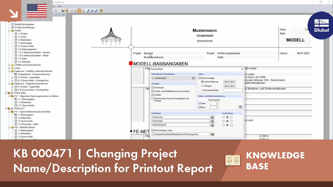 KB 000471 | Changing Project Name/Description for Printout Report