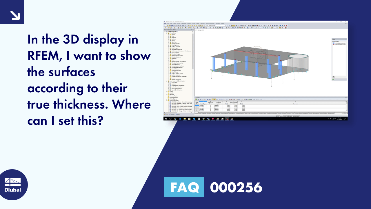 FAQ 000256 | In the 3D display in RFEM, I want to show the surfaces according to their true thick...