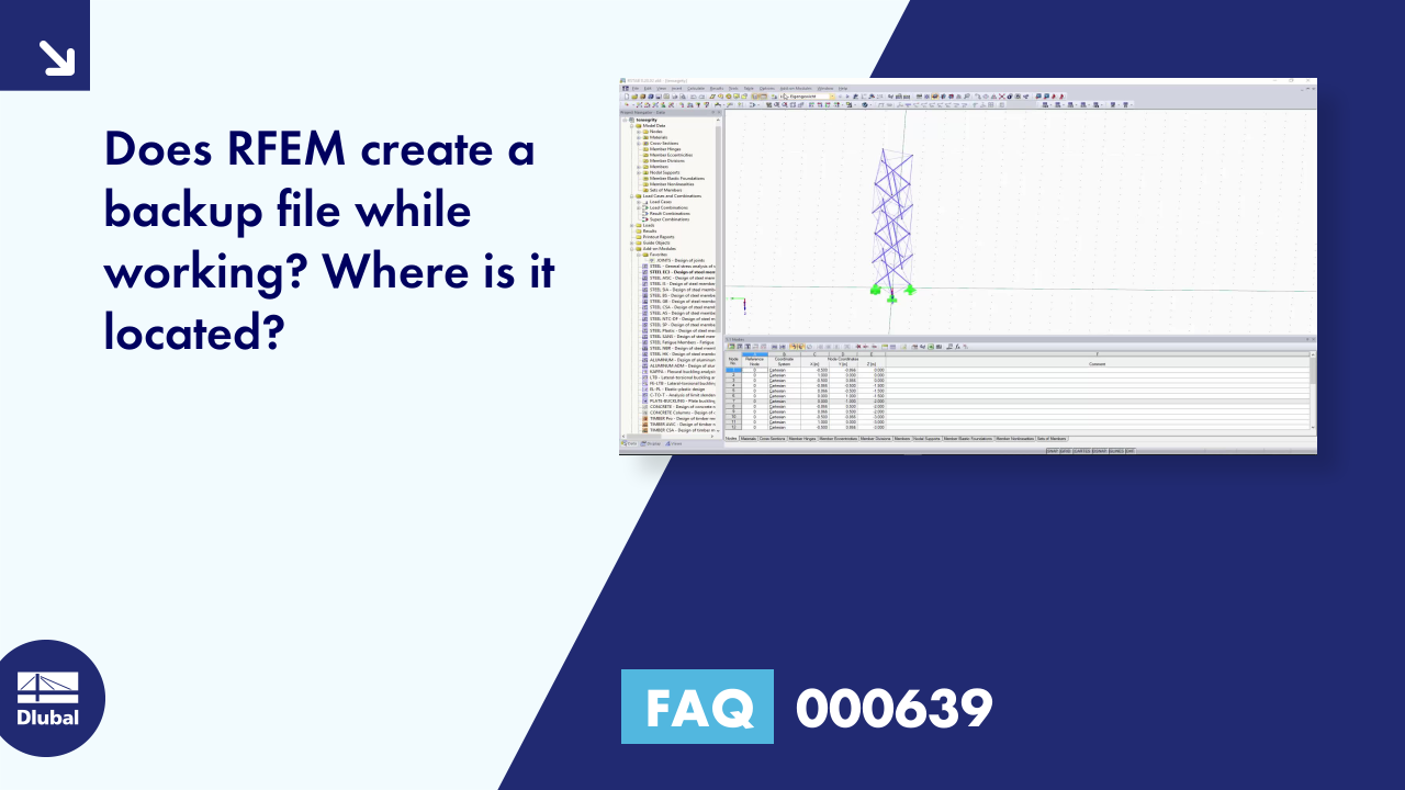FAQ 000639 | Does RFEM create a backup file while working? Where is it located?