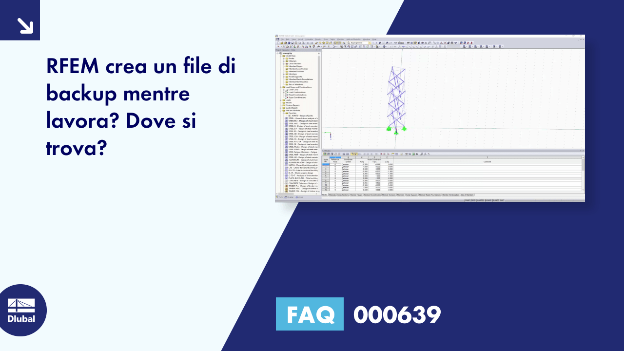 FAQ 000639 | RFEM crea un file di backup mentre lavora? Dove si trova?
