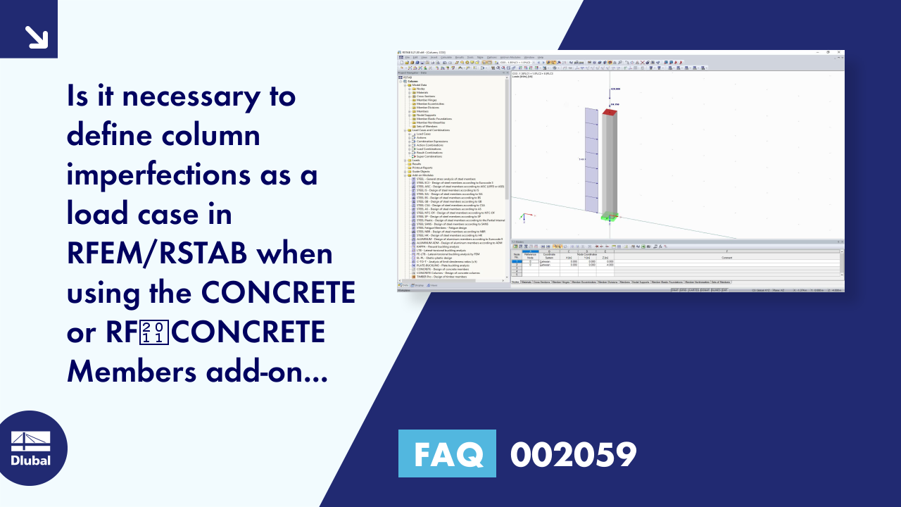 FAQ 002059 | Is it necessary to define column imperfections as a load case in RFEM/RSTAB when usi...