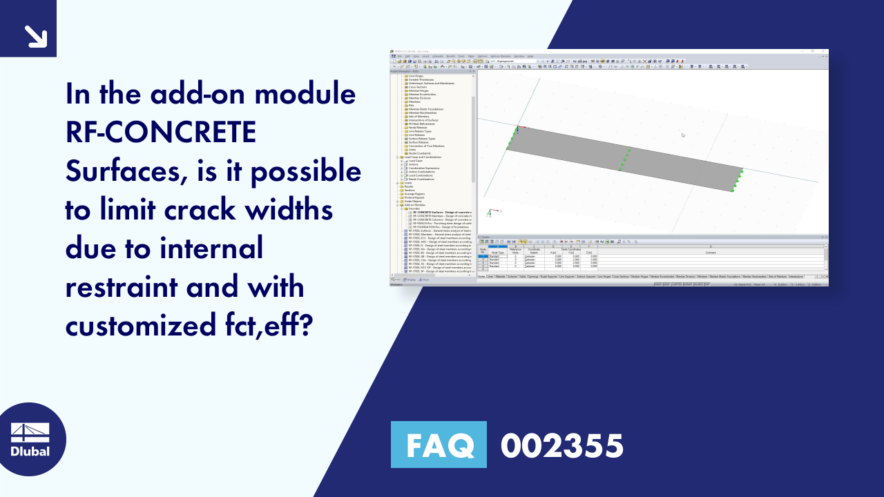 FAQ 002355 | In the add-on module RF-CONCRETE Surfaces, is it possible to limit crack widths due ...