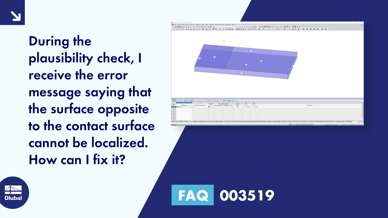 FAQ 003519 | During the plausibility check, I receive the error message saying that the surface o...