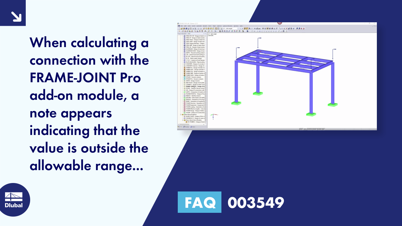 FAQ 003549 | When calculating a connection with the FRAME-JOINT Pro add-on module, a note appears...