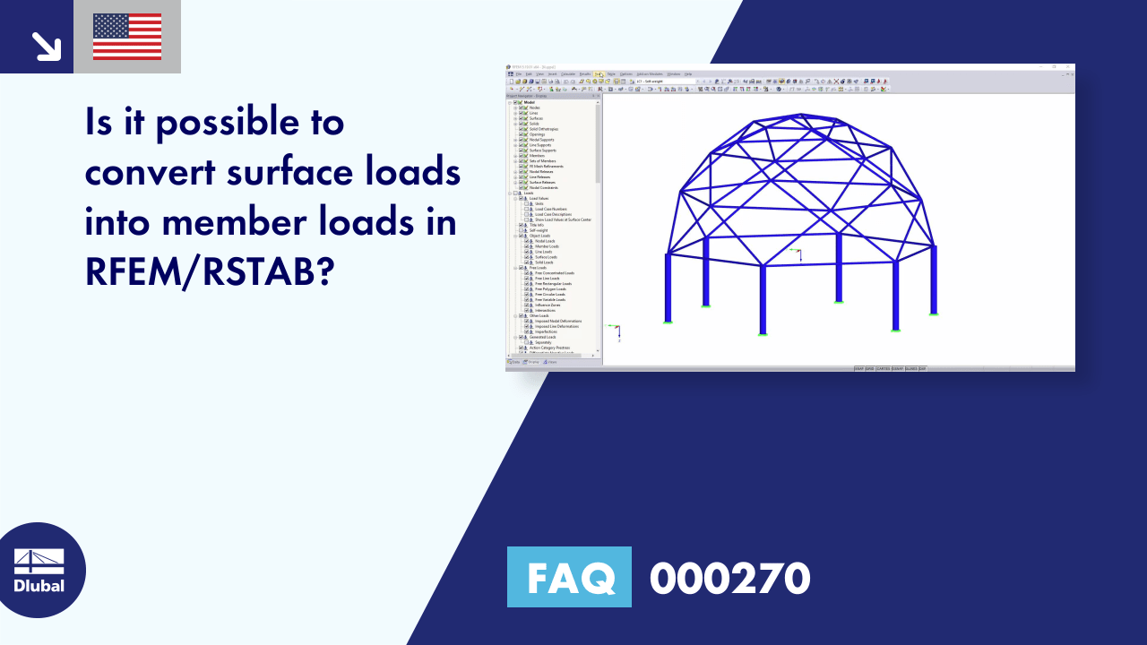 FAQ 000270 | Is it possible to convert surface loads into member loads in RFEM/RSTAB?