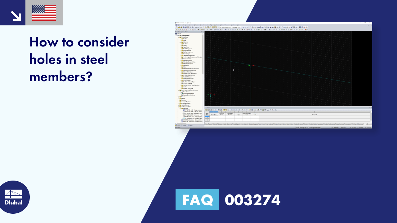 FAQ 003274 | How to consider holes in steel members?