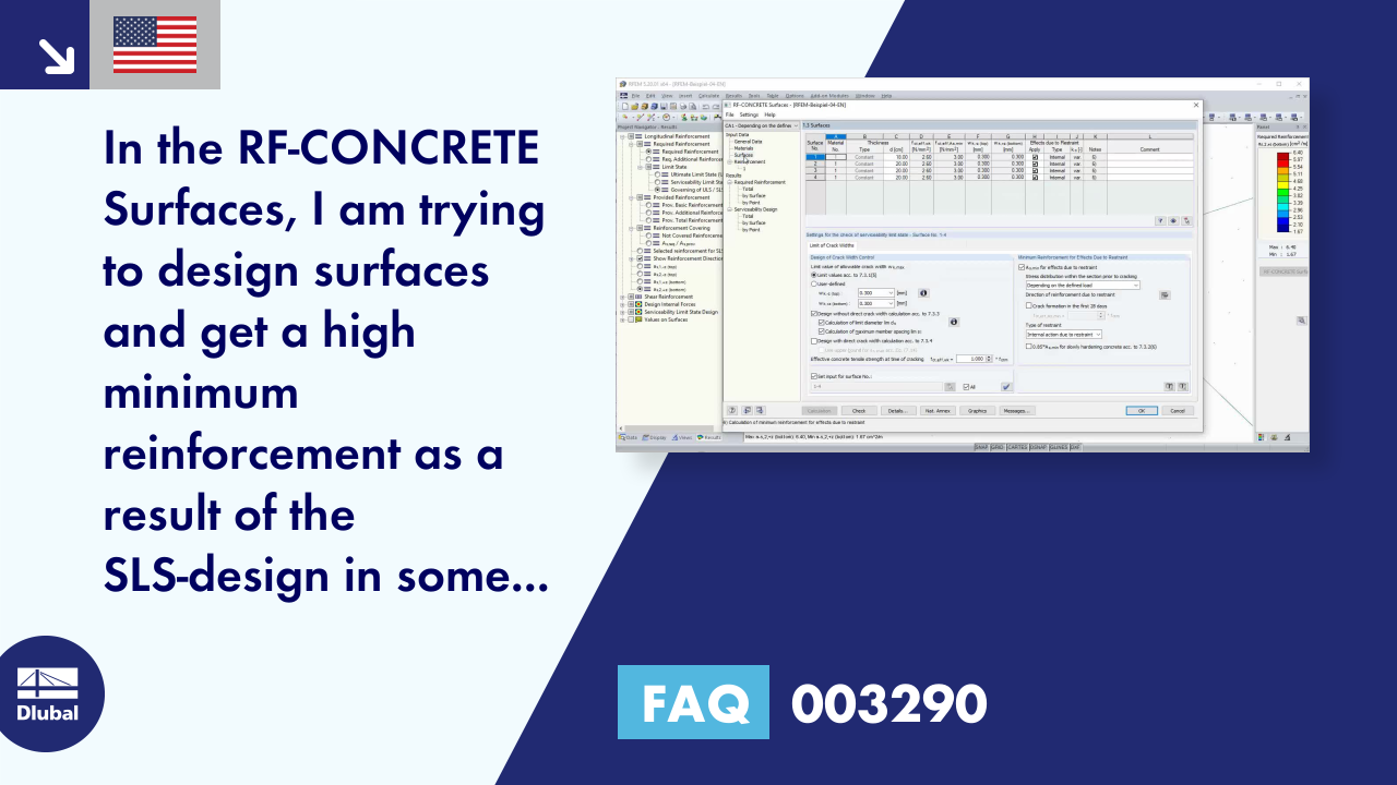 FAQ 003290 | In the RF-CONCRETE Surfaces, I am trying to design surfaces and get a high minimum r...