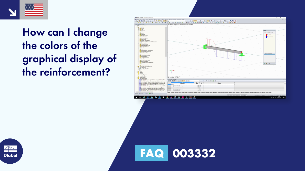 FAQ 003332 | How can I change the colors of the graphical display of the reinforcement?