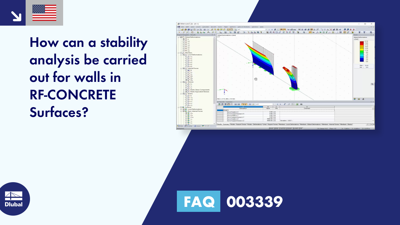 FAQ 003339 | How can a stability analysis be carried out for walls in RF-CONCRETE Surfaces?