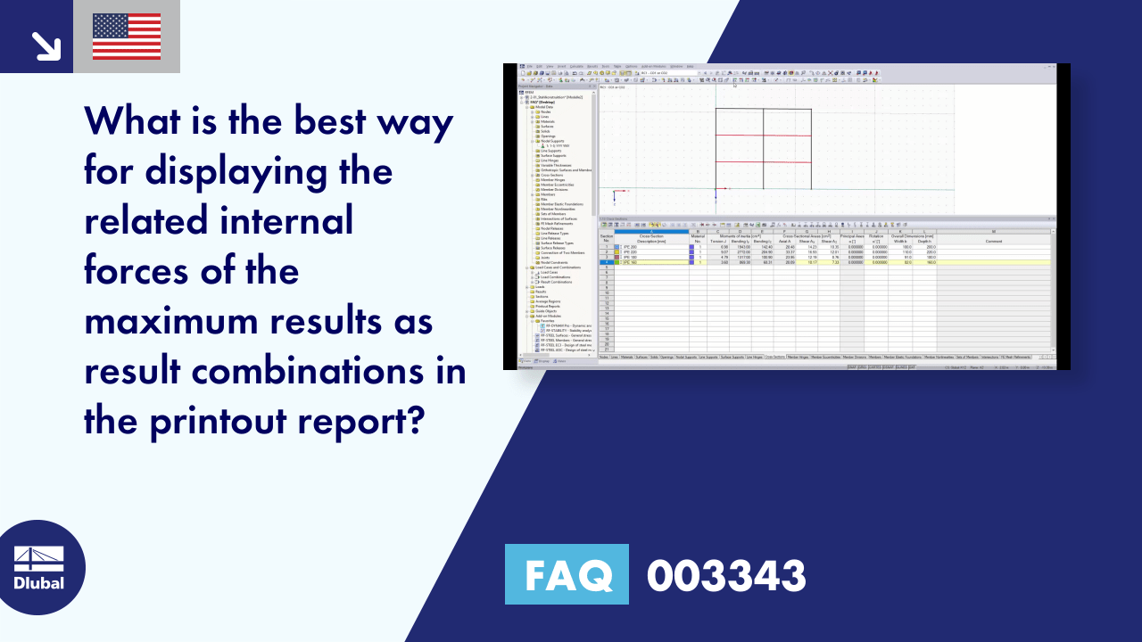 FAQ 003343 | What is the best way for displaying the related internal forces of the maximum resul...
