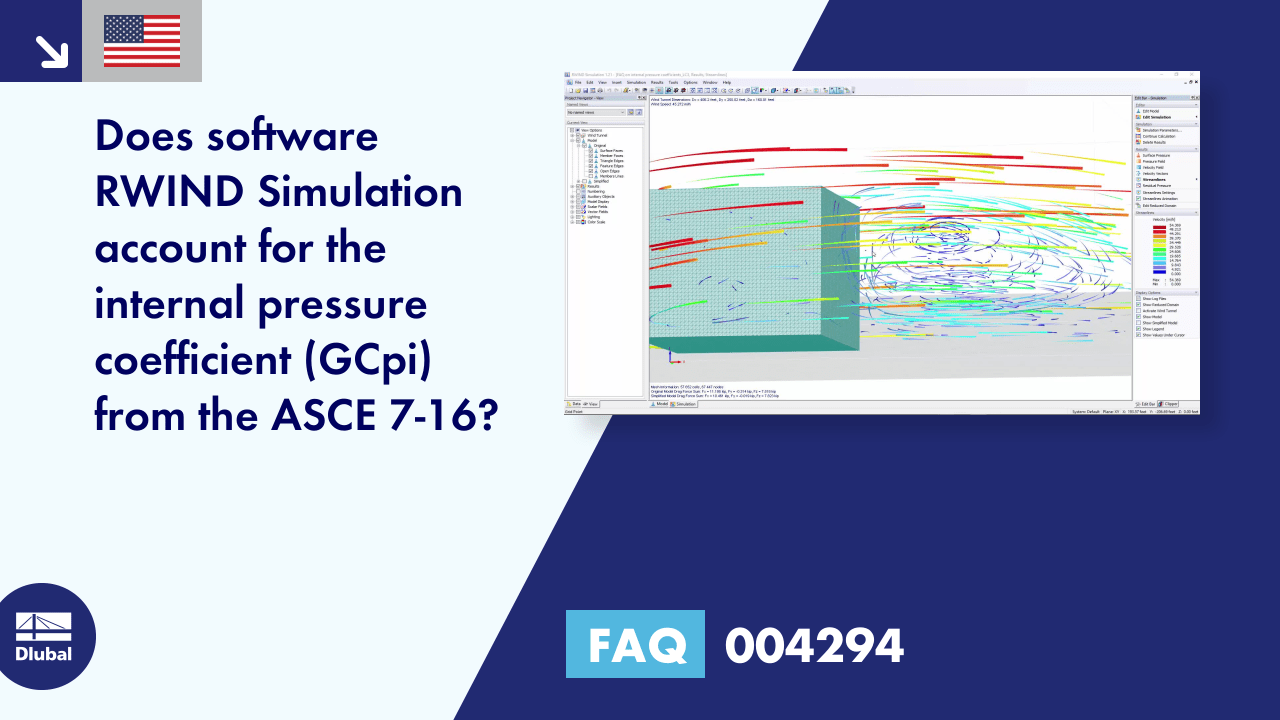 FAQ 004294 | Does software RWIND Simulation account for the internal pressure coefficient (GC-pi)...