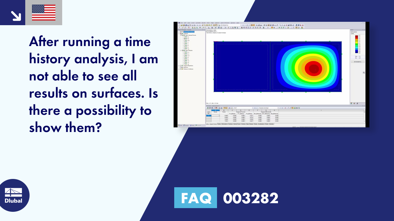 FAQ 003282 | After running a time history analysis, I am not able to see all results on surfaces....