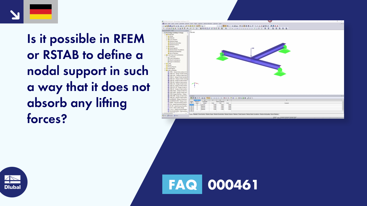 [DE] FAQ 000461 | Is it possible in RFEM or RSTAB to define a nodal support in such a way that it...