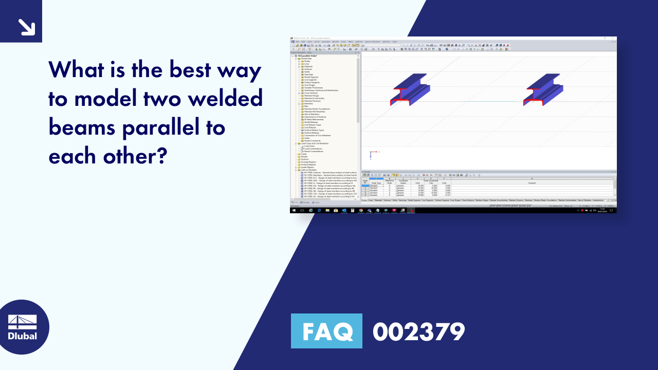 FAQ 002379 | What is the best way to model two welded beams parallel to each other?