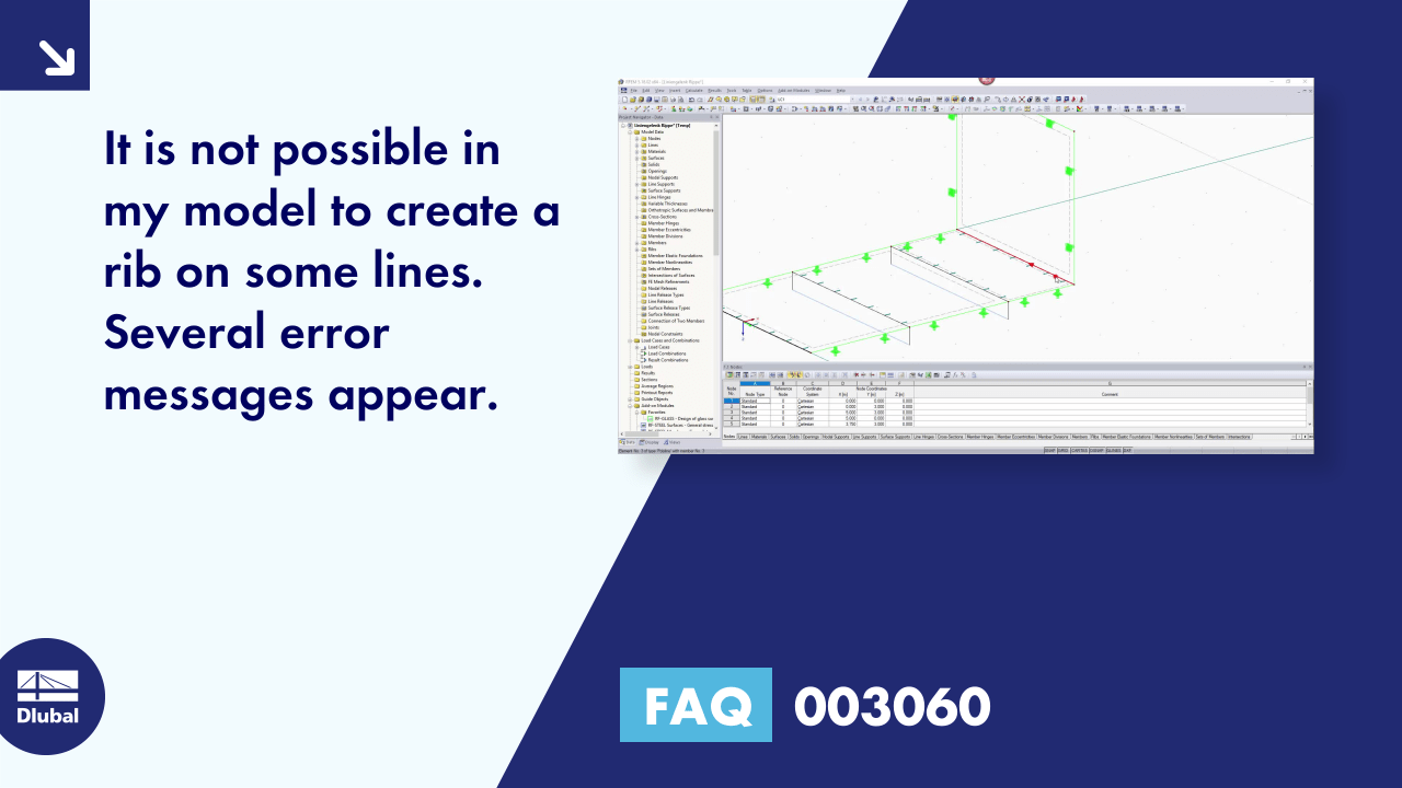 FAQ 003060 | It is not possible in my model to create a rib on some lines. Several error messages...