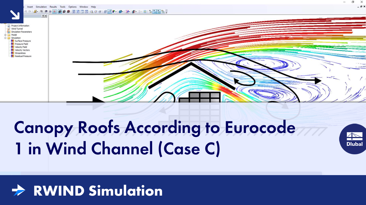 RWIND Simulation | Canopy Roofs According to Eurocode 1 in Wind Channel (Case C)