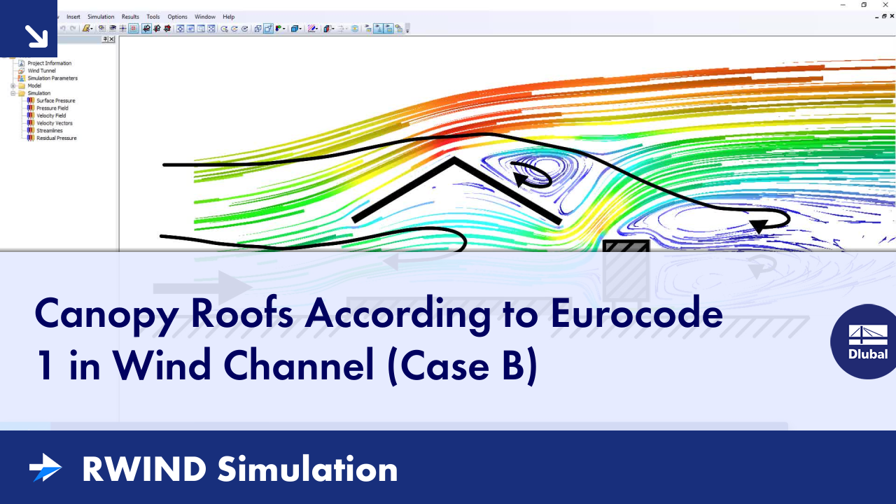 RWIND Simulation | Canopy Roofs According to Eurocode 1 in Wind Channel (Case B)