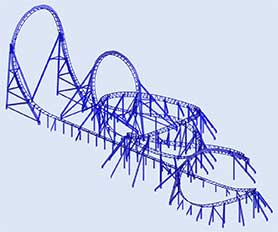 Structural beam analysis program RSTAB | Roller coaster in Romon U-Park, Ningbo, China