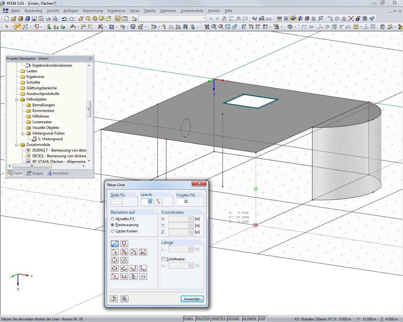 Statiksoftware rfem modellierung dlubal software for Rahmen berechnen statik