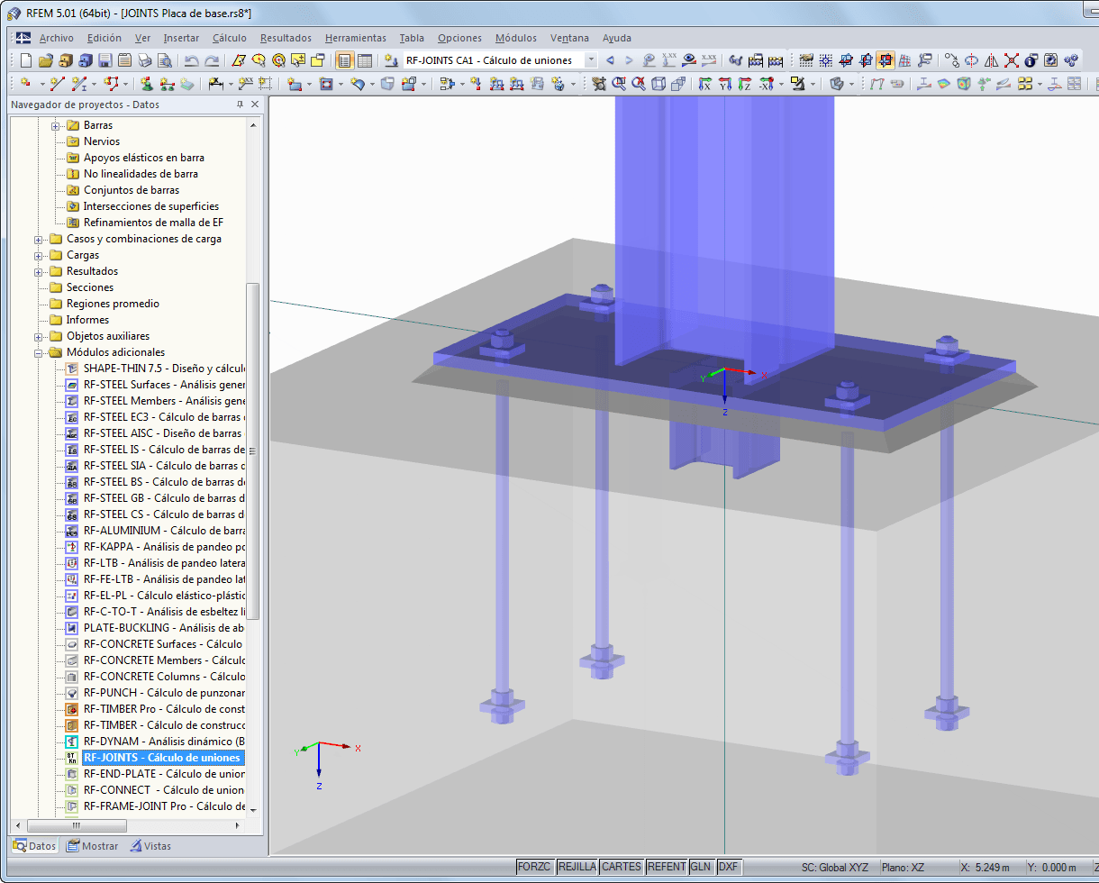 Placa de base visualizada en RFEM