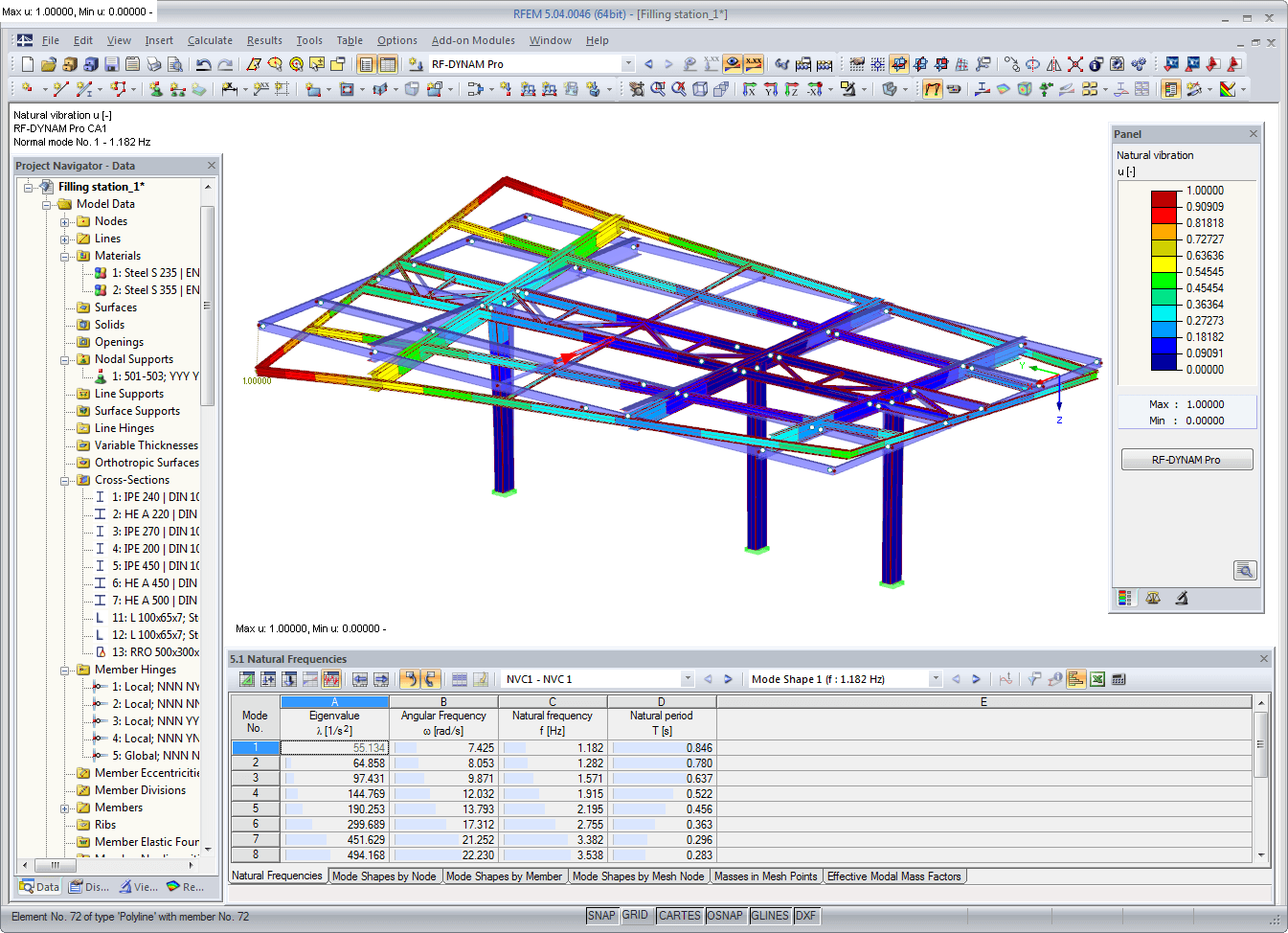 Natural vibration as graphical result display in RFEM