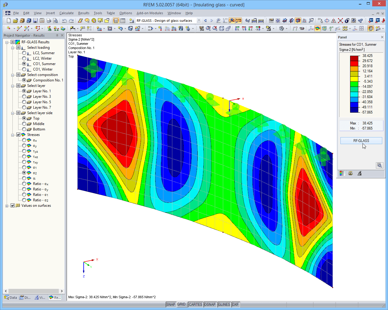 Results in RFEM graphic - stresses