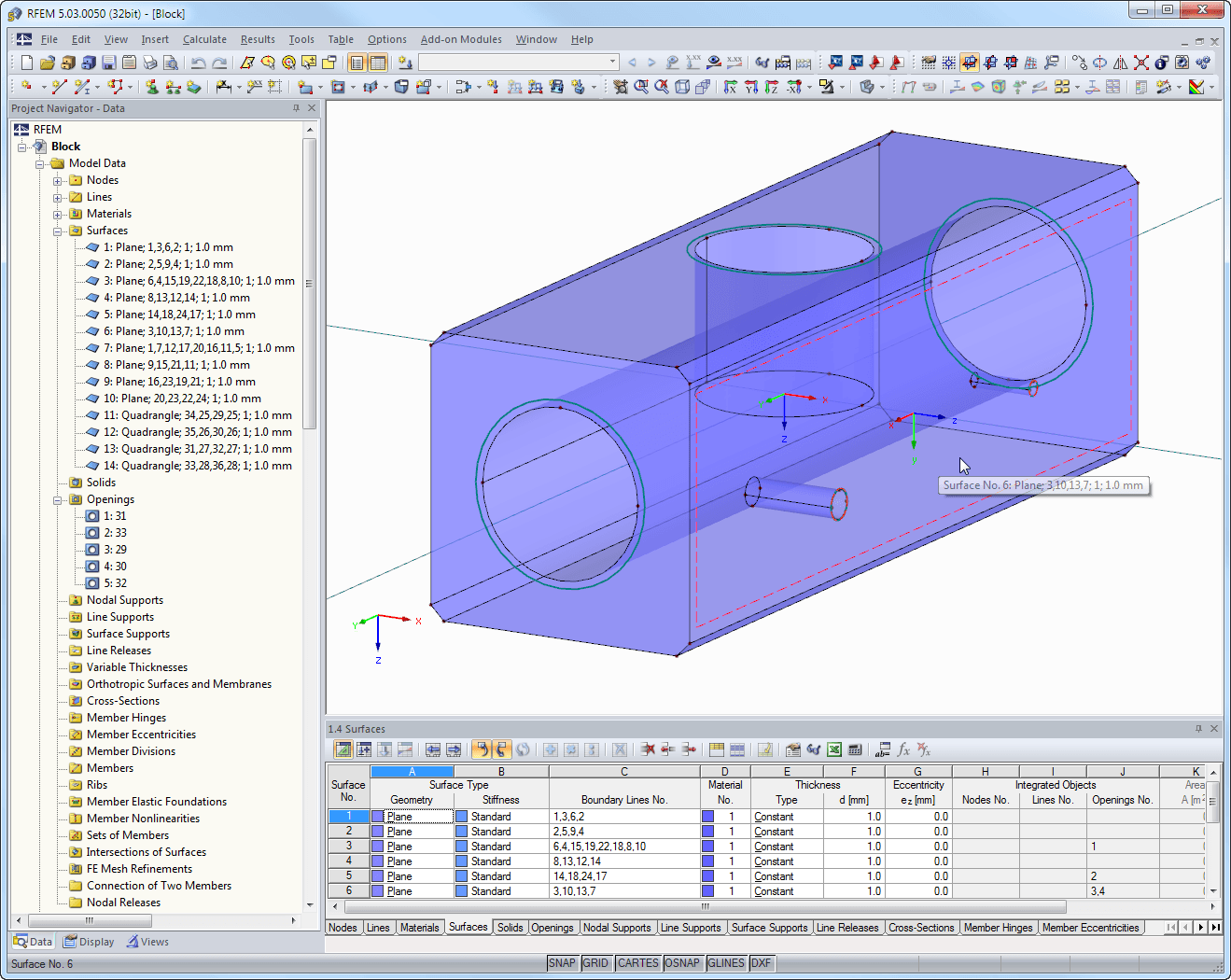 Block displayed in RFEM