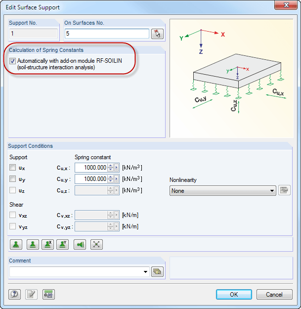 Calculation setting for RF-SOILIN in RFEM
