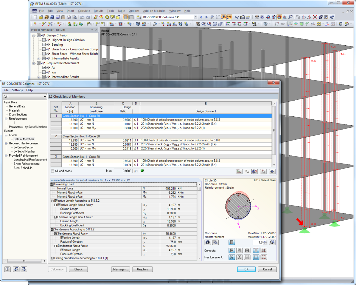 RF-CONCRETE Columns results represented graphically in RFEM
