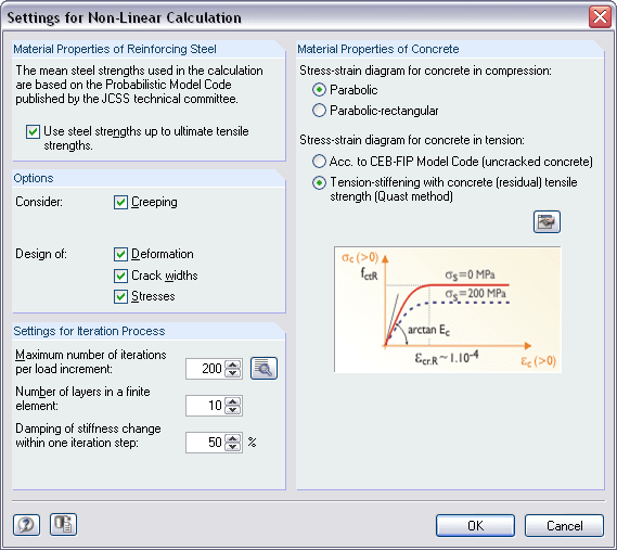 Settings for non-linear calculation