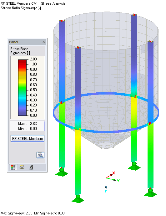 Colored Results in RFEM Graphic - Members
