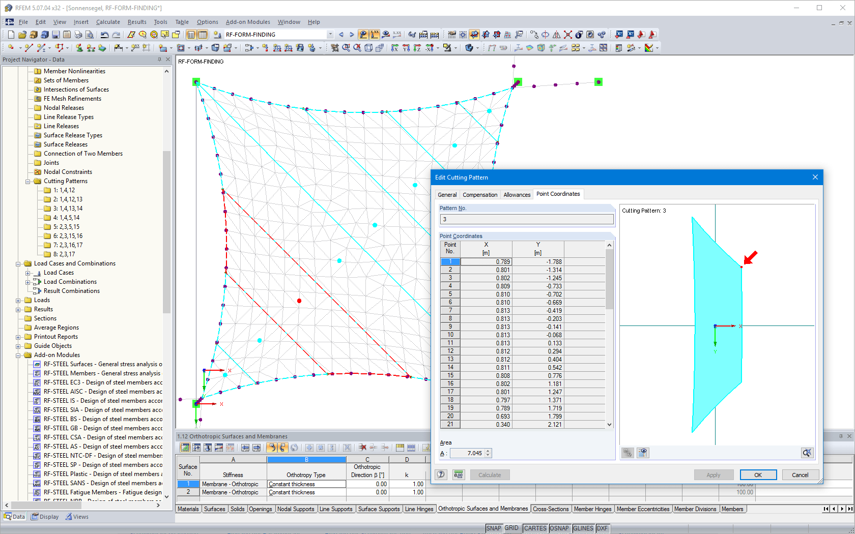 Representation of cutting pattern on RFEM model