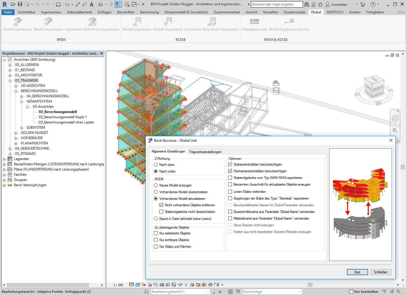 Bidirektionaler Datenaustausch mit Revit Structure