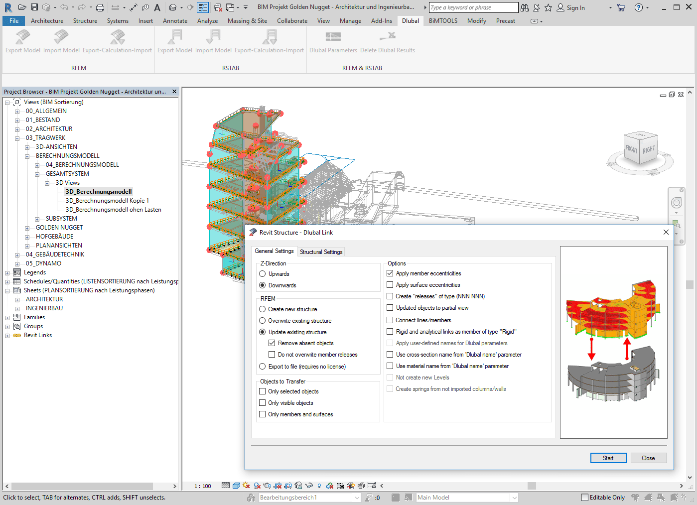Bidirectional data exchange with Revit Structure
