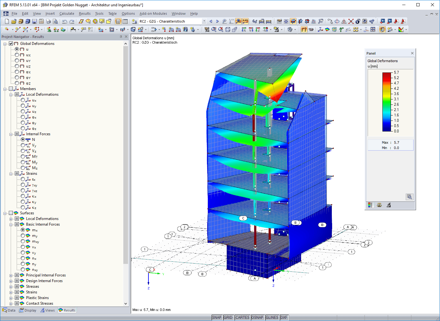 Analysis model in RFEM with internal forces