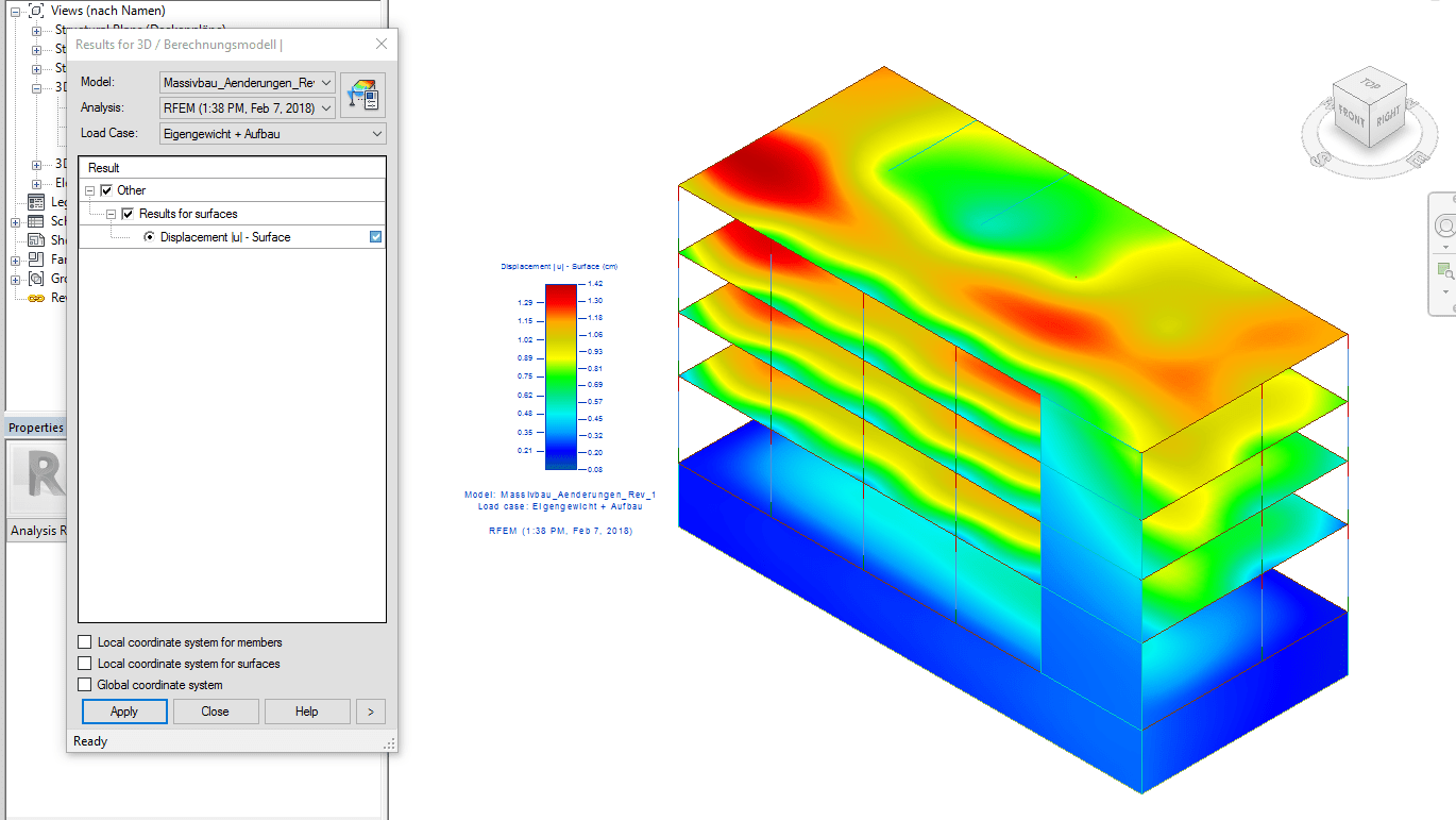 Calculation results of RFEM in Revit