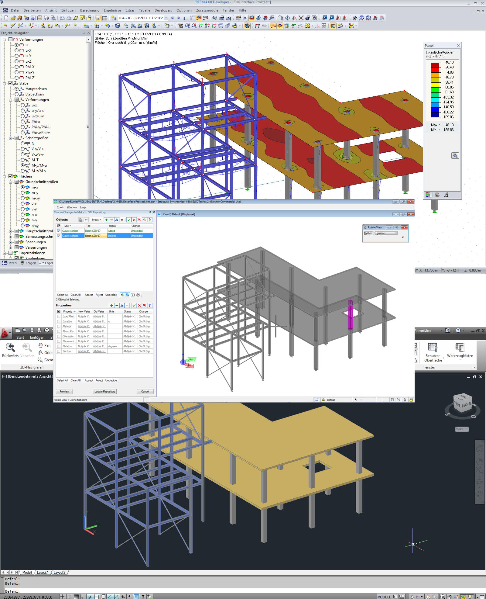 Interfaccia ISM con modello in RFEM (sopra), ISM Viewer (centro), e ProStructure (sotto)