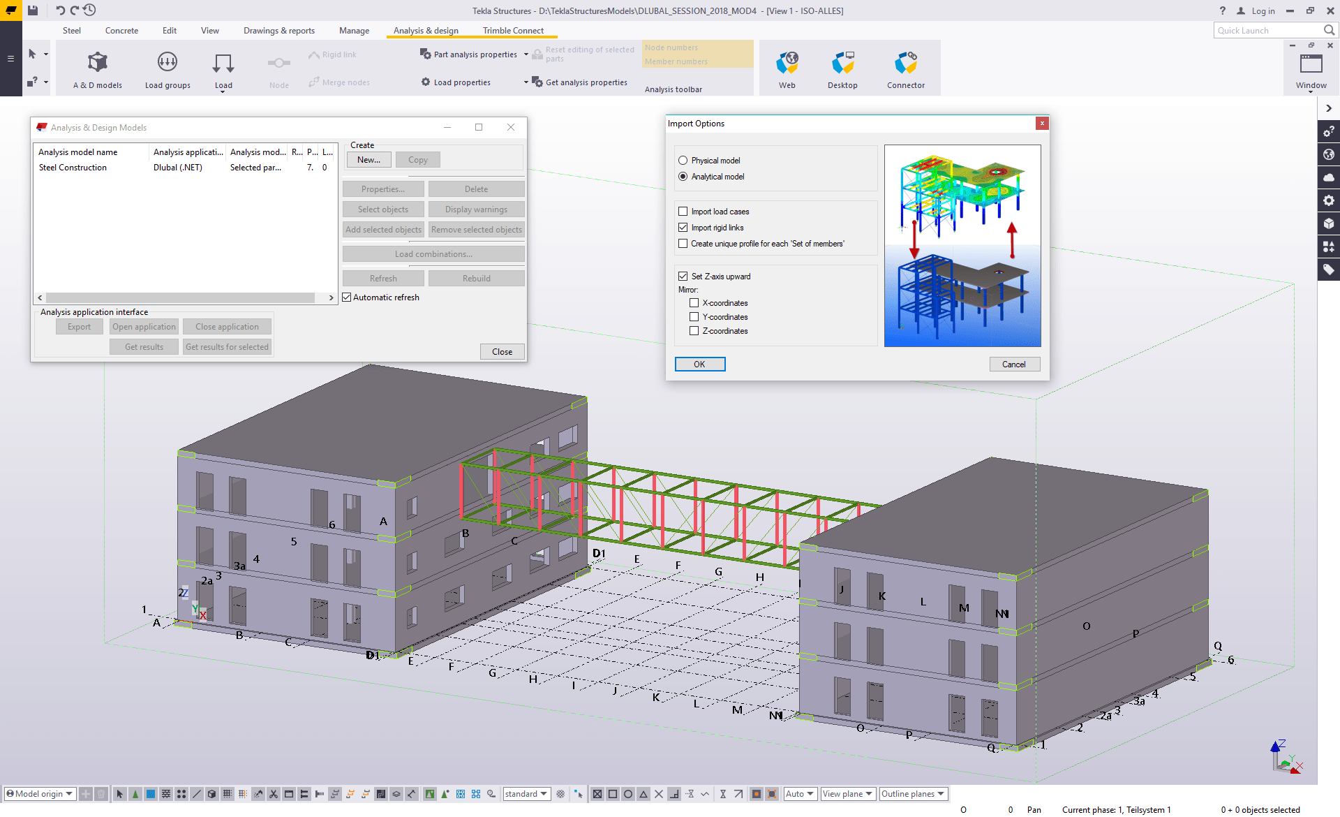 Export options in Tekla Structures