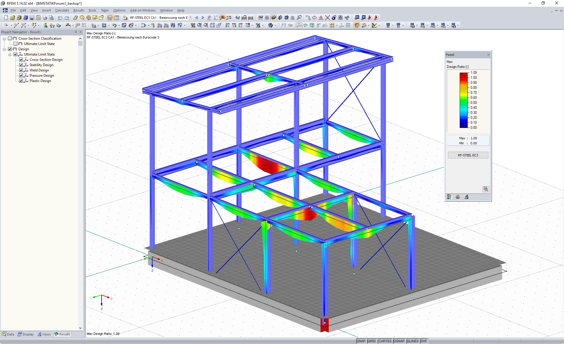 Display of maximum design ratio of the RF-STEEL EC3 add-on module in RFEM