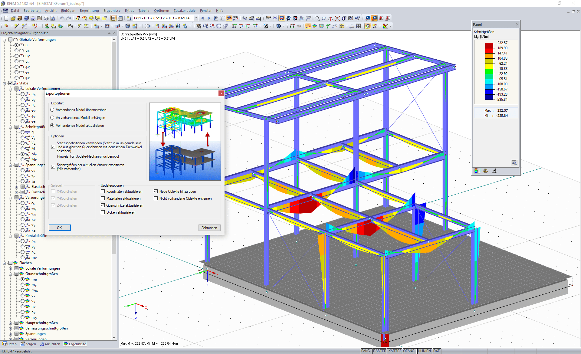 Options d'exportation directe vers Tekla Structures