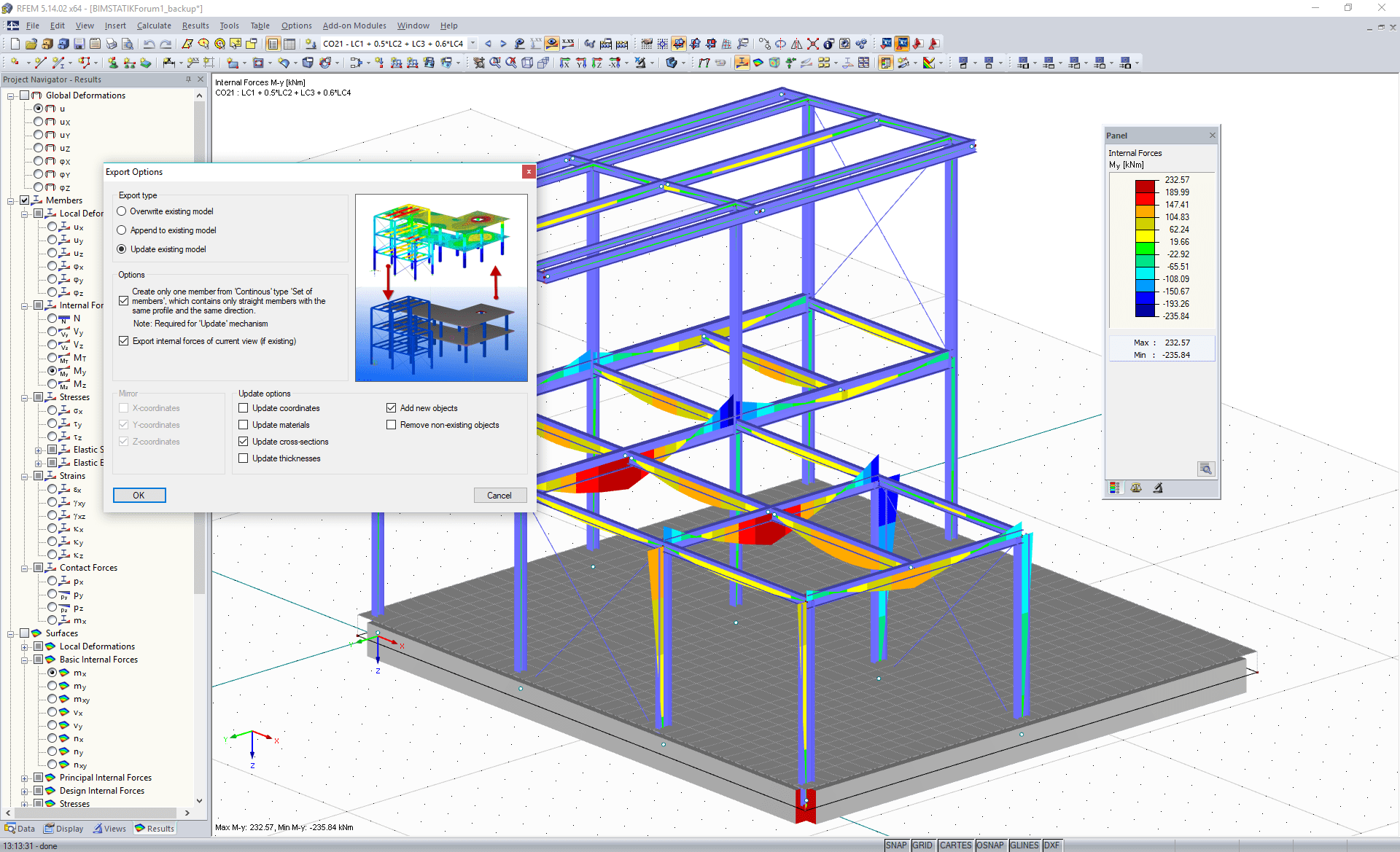 Options for direct export to Tekla Structures