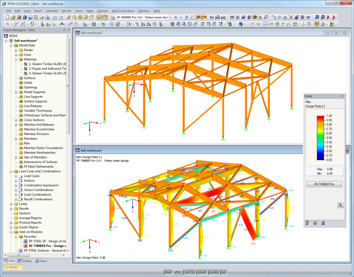 Timber model graphics with results from RF-/TIMBER Pro